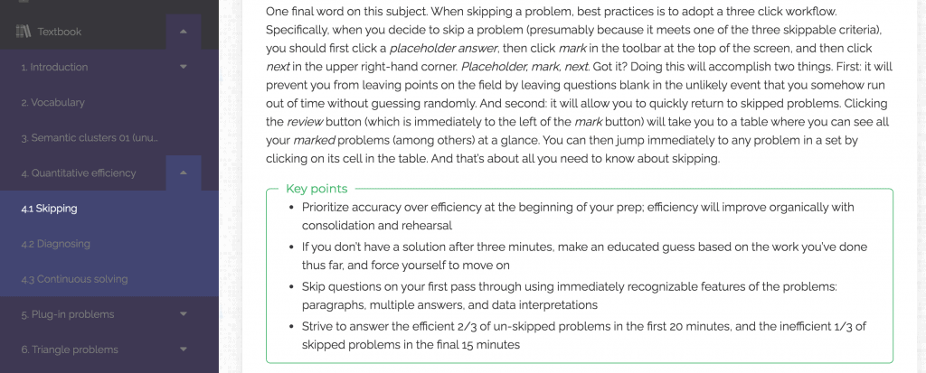 Screenshot of Achievable GRE quant review topic from dashboard.
