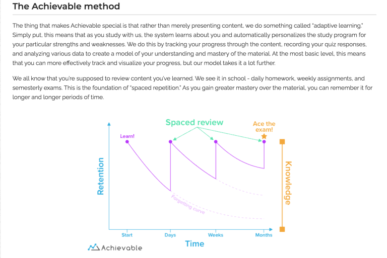 Screenshot of Achievable GRE spaced repetition method.
