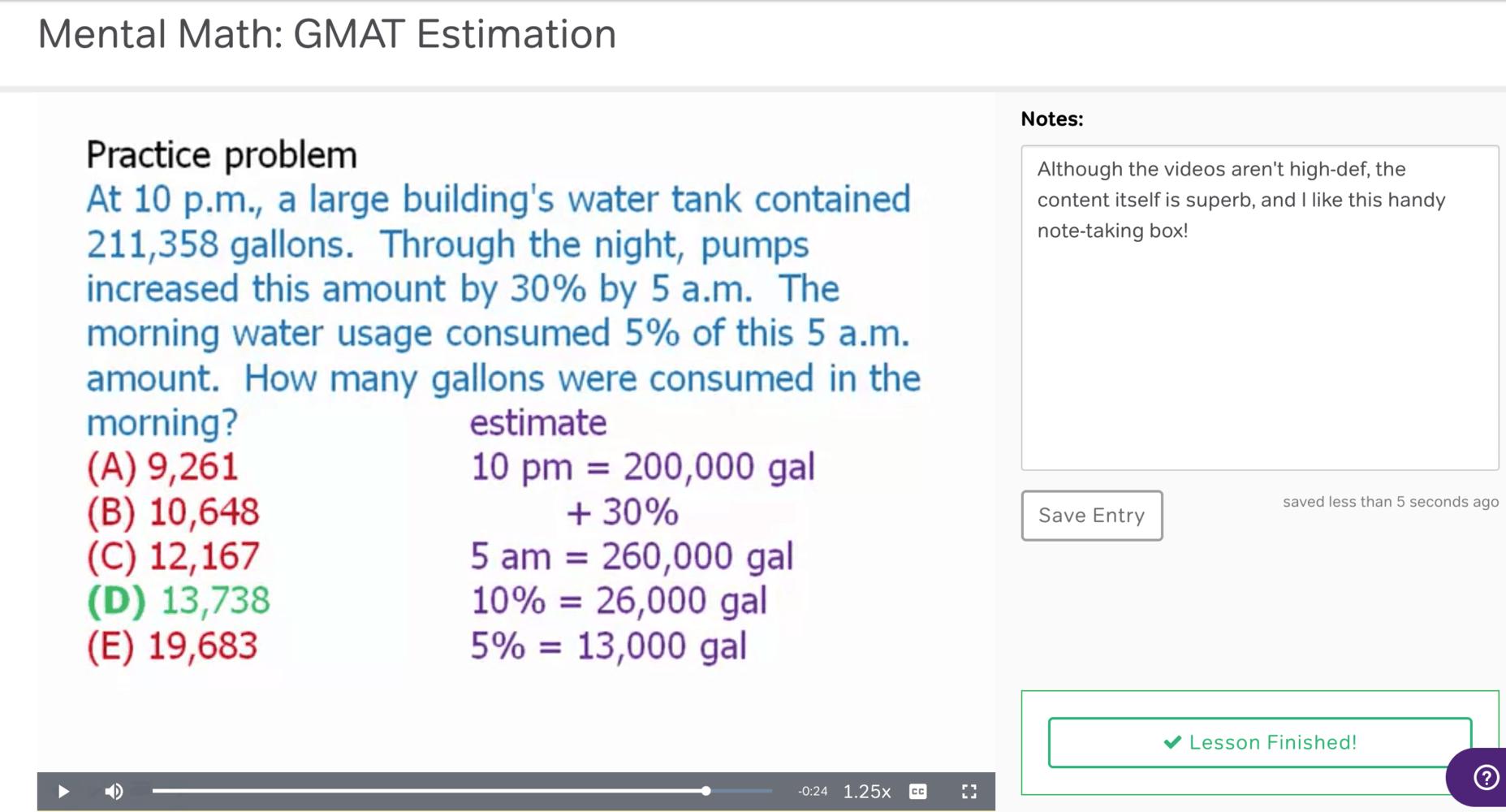 Course screenshot of example quant problem