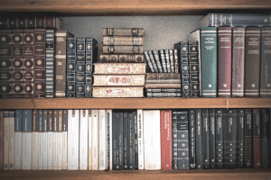 Bookshelf of classic books from philosophy and history.