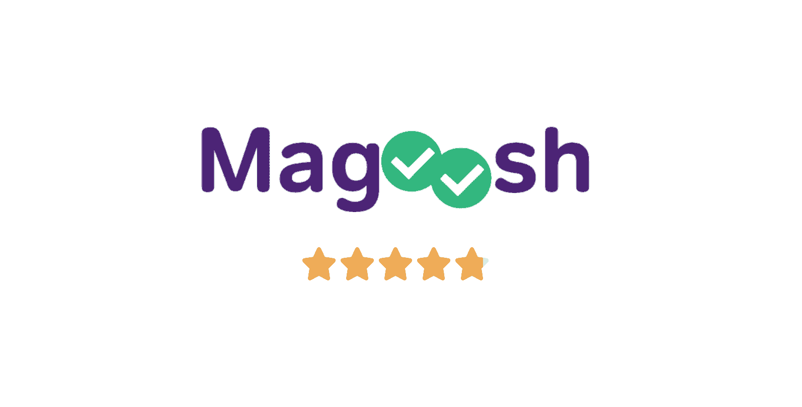 logo of magoosh test prep company with star rating