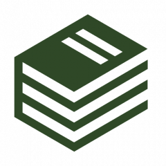 Stack of books icon in forest green.